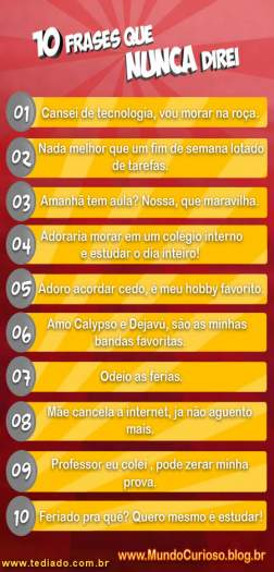 Photo of 10 Frases que Nunca Direi!