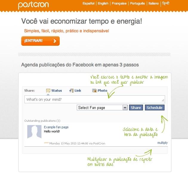 Postcron - Como agendar publicações no facebook 2
