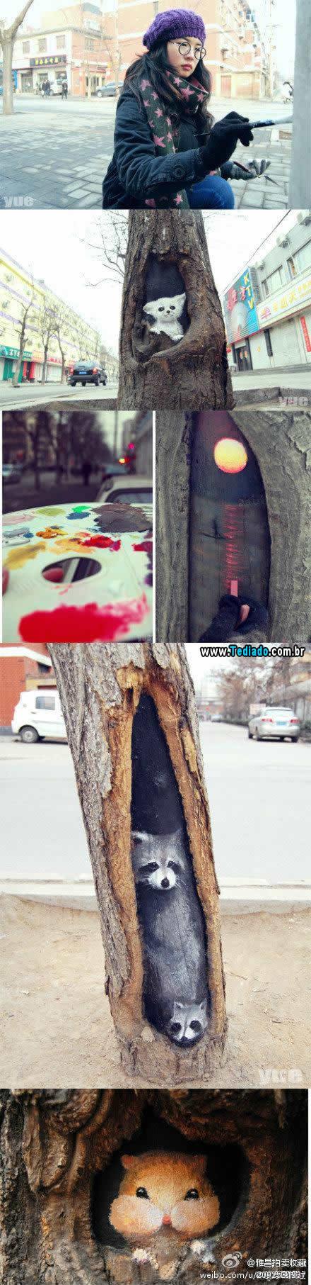 Menina talentosa transforma buracos de árvores em vista linda com seu pincel 3