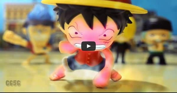 One Piece VS Dragon Ball stop motion – Luffy VS Cell