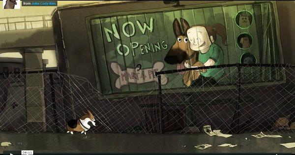Animação de um cachorro que esta a procura do seu dono no apocalypse zumbi 1