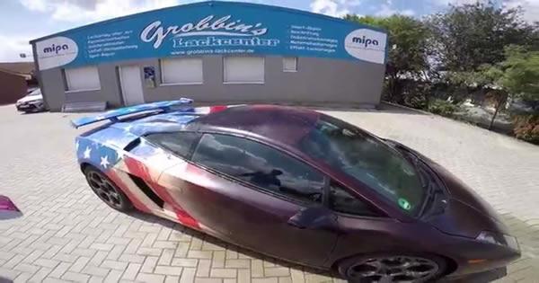 Surreal arte de um grafiteiro em uma Lamborghini Gallardo 2