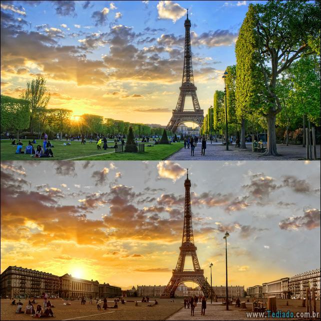 Sunset flares at Champ de Mars in Paris