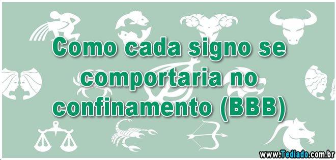 Como cada signo se comportaria no confinamento (BBB) 8