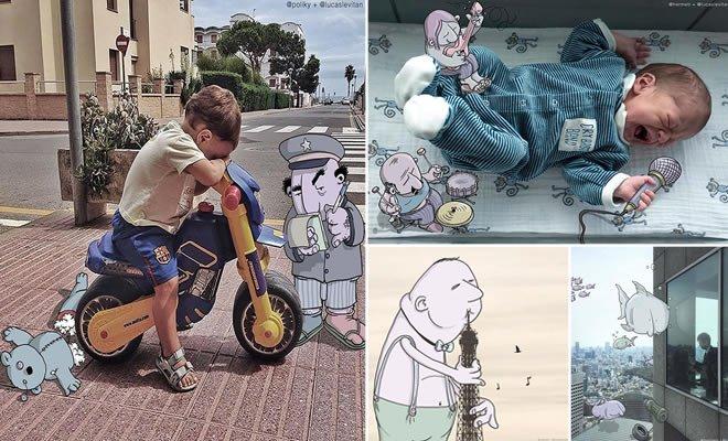 Ilustrador adiciona Cartoons engraçados em Fotos de estranhos (30 fotos) 6