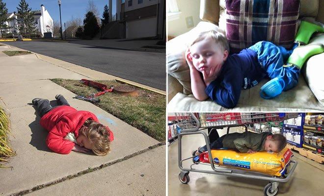 32 fotos divertidas que provam que as crianças podem dormir em qualquer lugar 2