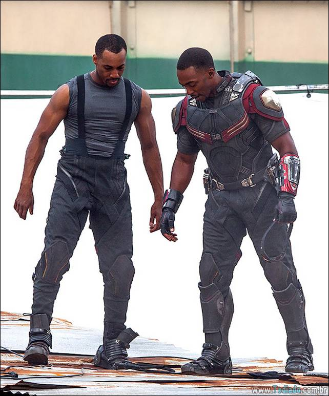"""Atlanta, GA - Anthony Mackie as Falcon lands on set for a scene during the filming of """"Captain America: Civil War"""".  Anthony did multiple takes along with his stunt man doing the high flying action stunts. AKM-GSI          May 15, 2015 To License These Photos, Please Contact : Steve Ginsburg (310) 505-8447 (323) 423-9397 steve@akmgsi.com sales@akmgsi.com or Maria Buda (917) 242-1505 mbuda@akmgsi.com ginsburgspalyinc@gmail.com"""