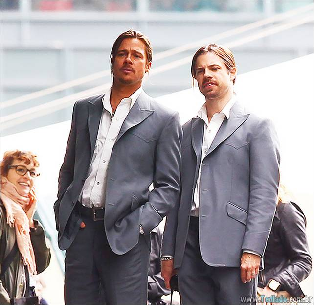 Brad Pitt and his stunt double filming a scene of the movie 'The Counselor' on location in London. The story is about a lawyer finds himself in over his head when he gets involved in drug trafficking. Directed by Ridley Scott London, England - 04.08.12 Featuring: Brad Pitt and his stunt double Where: London, United Kingdom When: 04 Aug 2012 Credit: WENN
