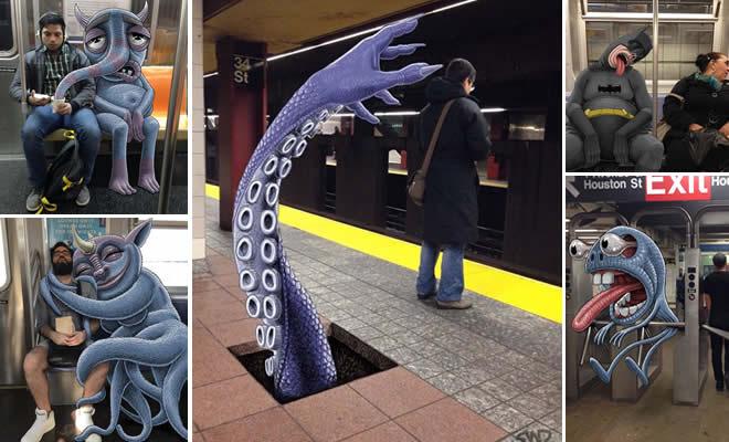 Artista adiciona monstros em Nova York (30 fotos) 3