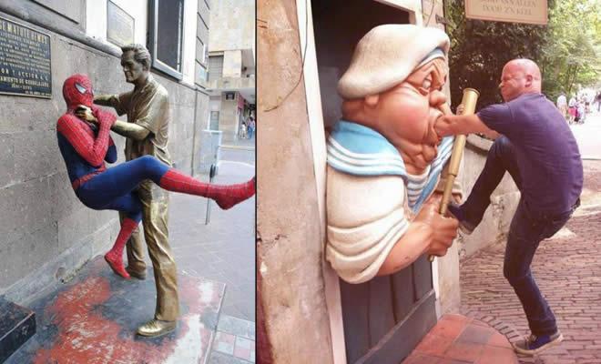 26 pessoas que sabem se divertir quando vêem uma estátua 2