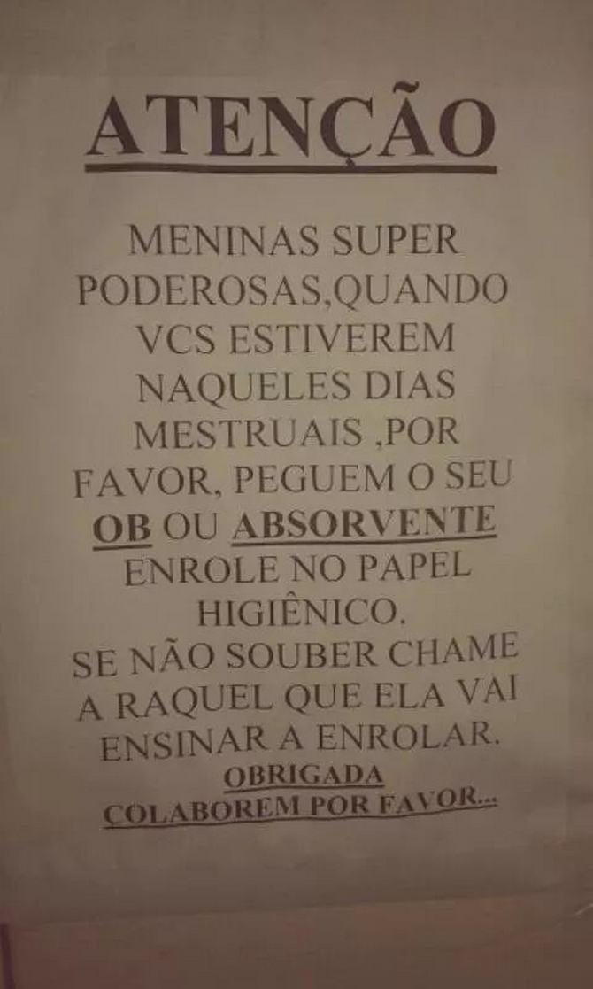18 avisos engraçados que você só encontra nos banheiros brasileiros 16