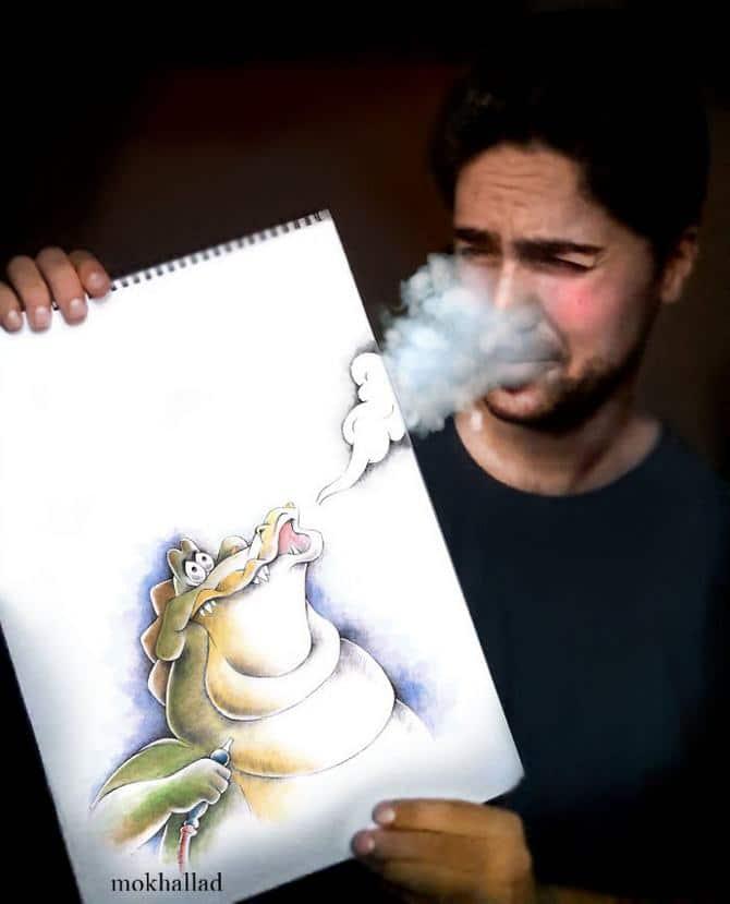 Mokhallad Habib é um farmacêutico que combinar desenhos com a vida real para fazer outras pessoas sorrir (20 fotos) 8