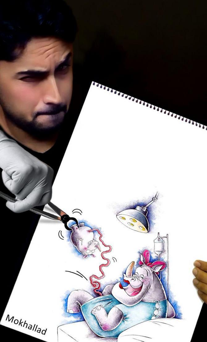 Mokhallad Habib é um farmacêutico que combinar desenhos com a vida real para fazer outras pessoas sorrir (20 fotos) 17