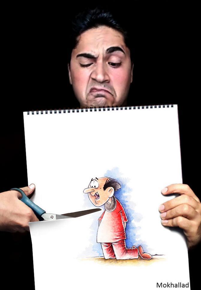 Mokhallad Habib é um farmacêutico que combinar desenhos com a vida real para fazer outras pessoas sorrir (20 fotos) 19