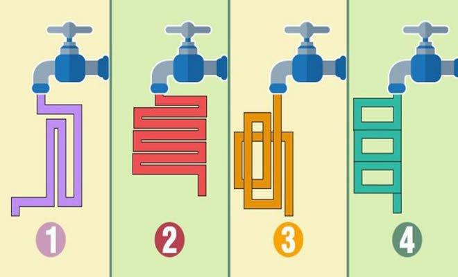 Por qual cano o fluxo da água sairia mais rápido? 1