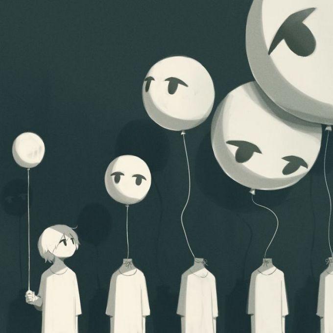 Ilustrações poderosas por artista japonês que o fará pensar (40 fotos) 6