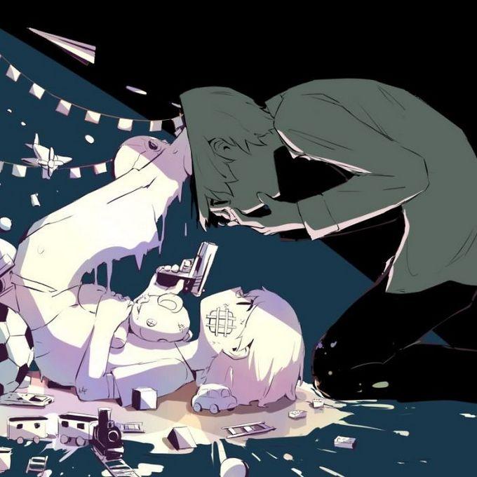 Ilustrações poderosas por artista japonês que o fará pensar (40 fotos) 7
