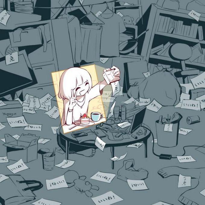 Ilustrações poderosas por artista japonês que o fará pensar (40 fotos) 8