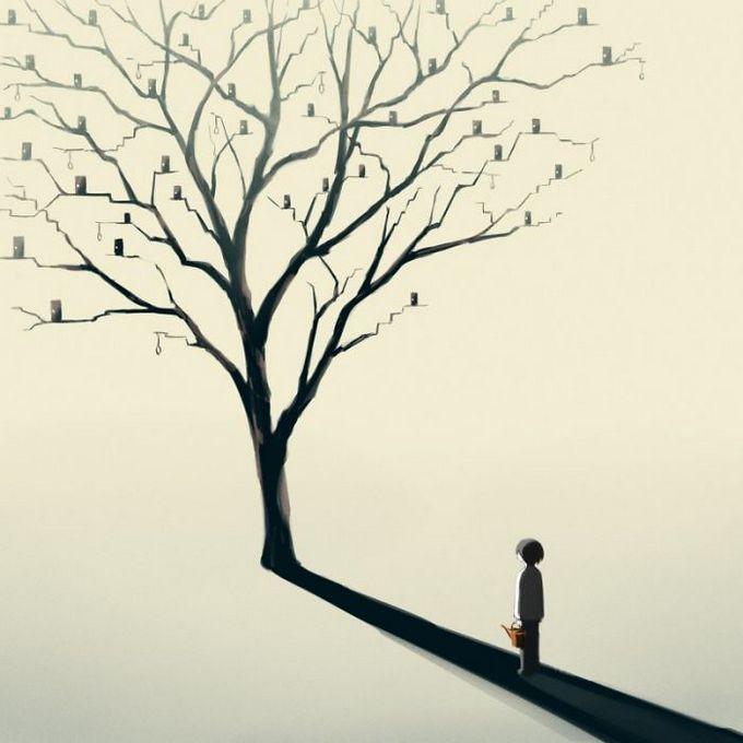 Ilustrações poderosas por artista japonês que o fará pensar (40 fotos) 23
