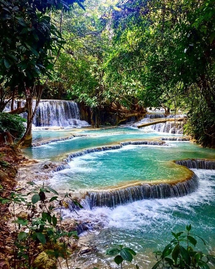 De tirar o fôlego 3 nível cachoeira Kuang Si, Laos.