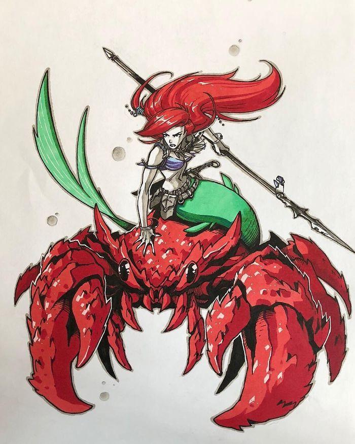 Ariel montando Sebastian para a batalha