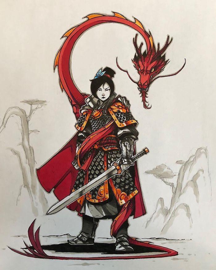 Mulan e Mushu parecendo prontos para fritar você