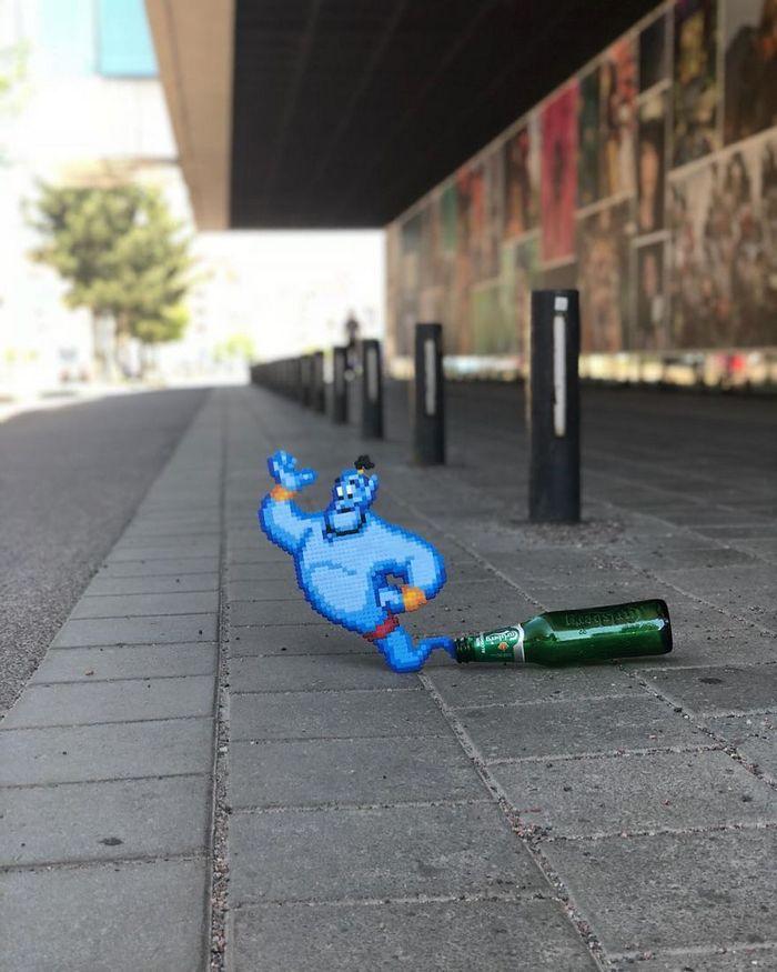 Artista sueco espalha sua impressionante arte Pixel pela cidade 8
