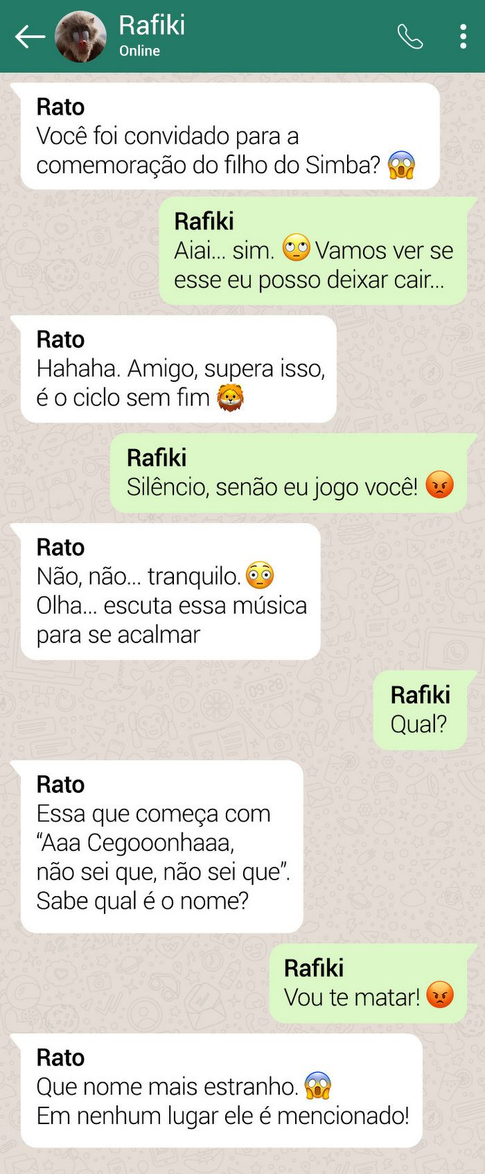 15 conversas dos personagens do Rei Leão pelo WhatsApp 3