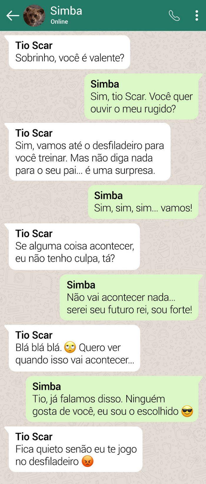 15 conversas dos personagens do Rei Leão pelo WhatsApp 12