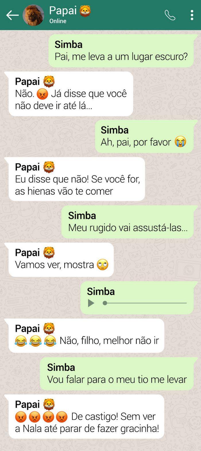 15 conversas dos personagens do Rei Leão pelo WhatsApp 13