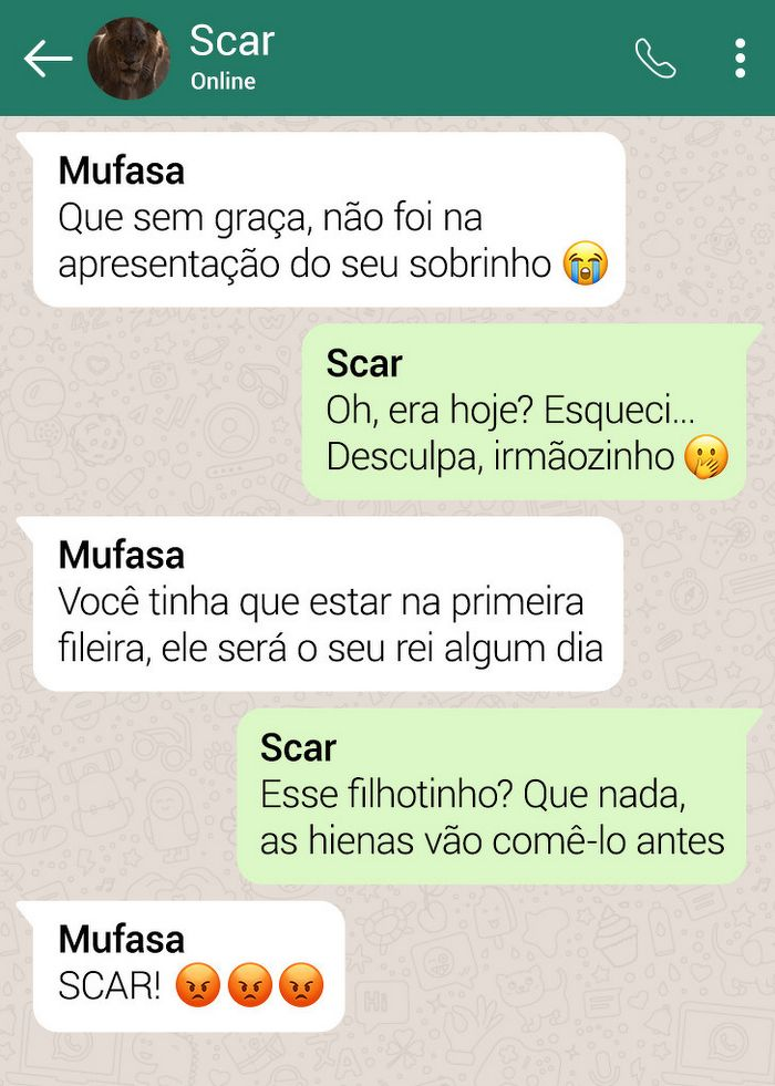 15 conversas dos personagens do Rei Leão pelo WhatsApp 15
