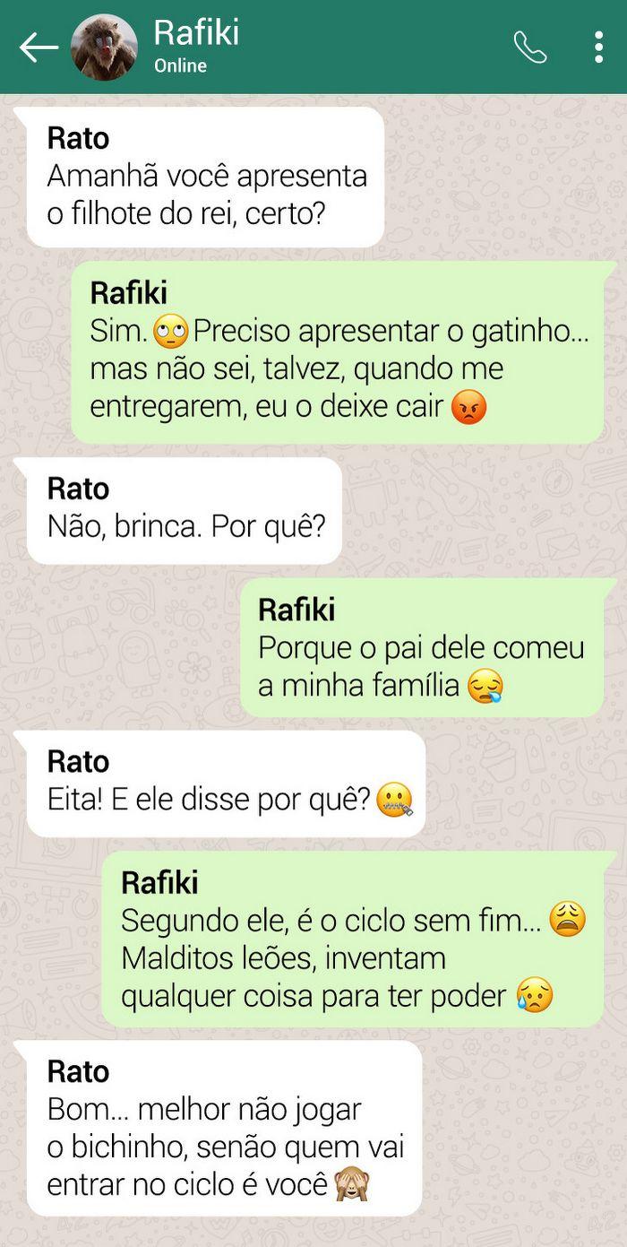15 conversas dos personagens do Rei Leão pelo WhatsApp 16