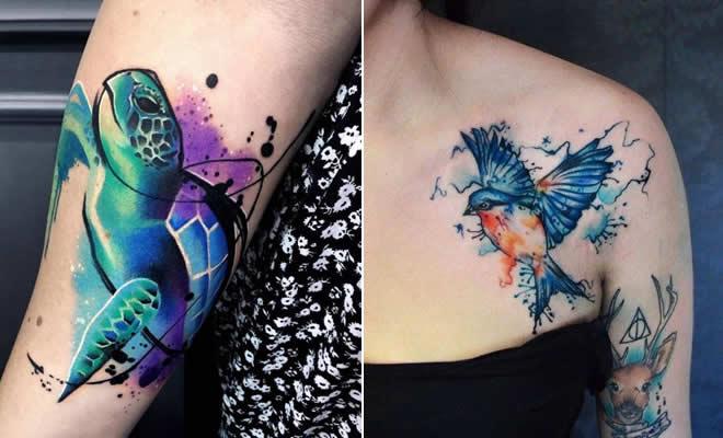 32 ideias de tatuagens estilo aquarela 35