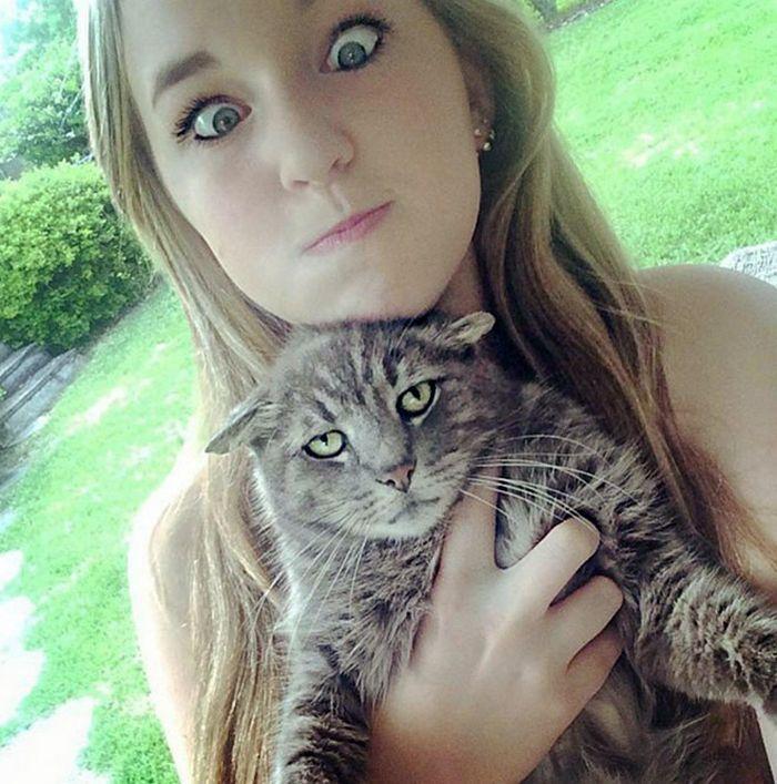 Gatos que odeiam estar em selfies com seus humanos (21 fotos) 12