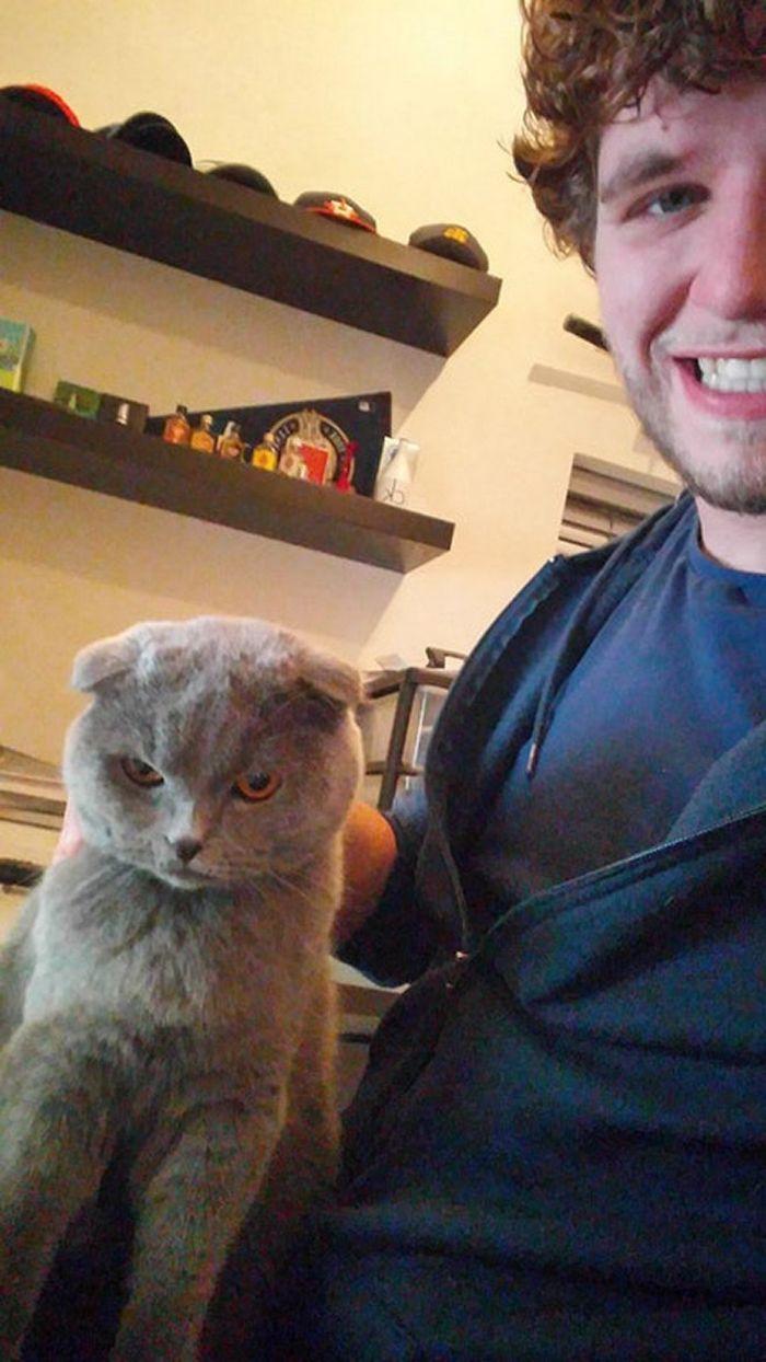 Gatos que odeiam estar em selfies com seus humanos (21 fotos) 21