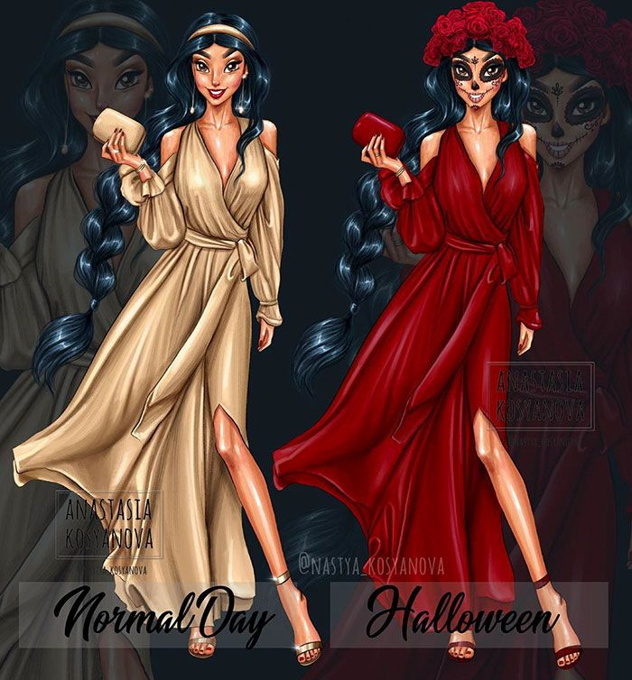 8 princesas da Disney vestidas para o Halloween por um artista russo 9