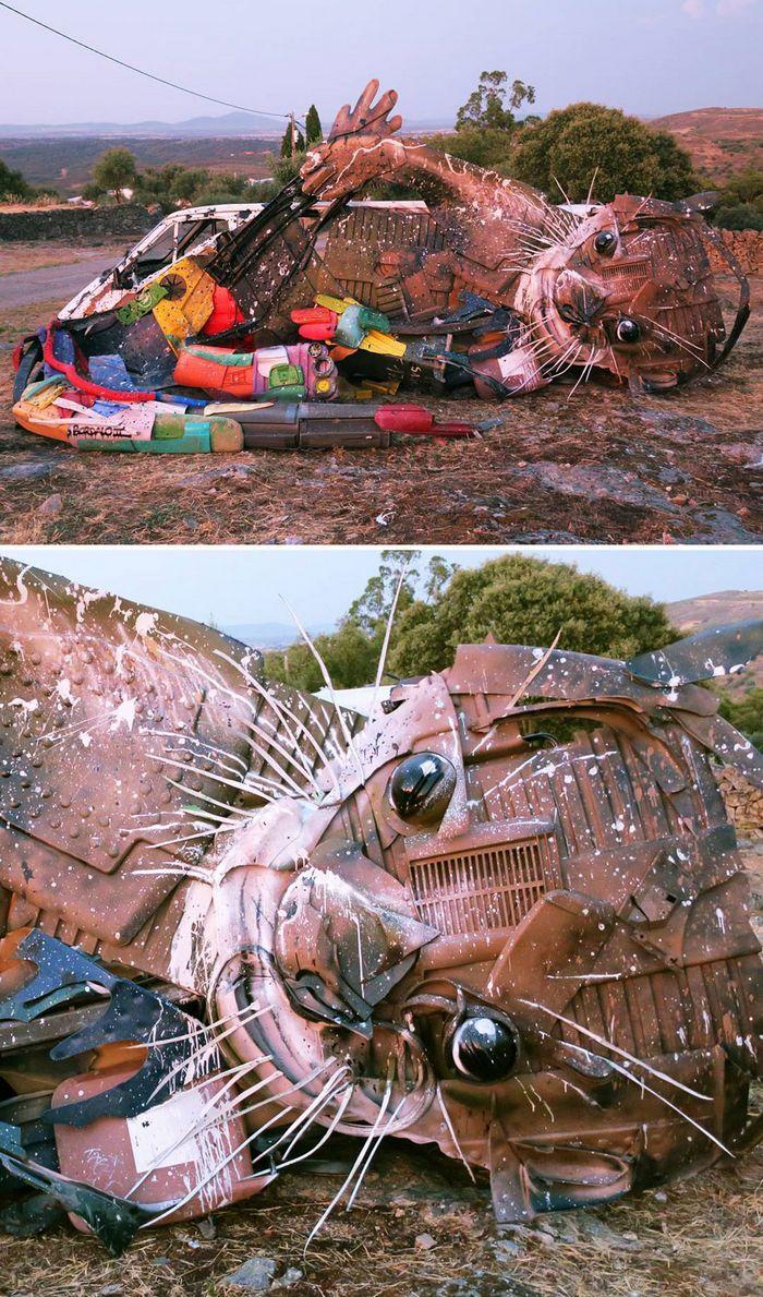 Artista transforma lixo em animais para nos lembrar sobre poluição 24