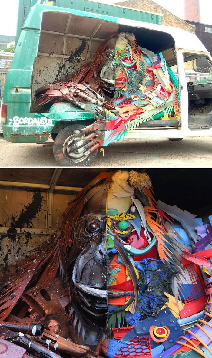 Artista transforma lixo em animais para nos lembrar sobre poluição 28