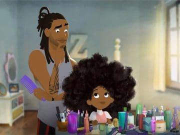 Animação mostra um pai afro-americano aprendendo a pentear o cabelo da filha pela primeira vez 6