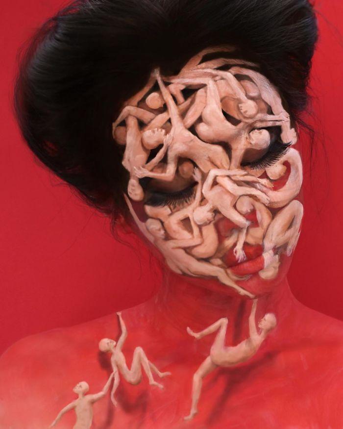 O que este artista faz com o rosto dela mexe seriamente com a sua mente (36 fotos) 10