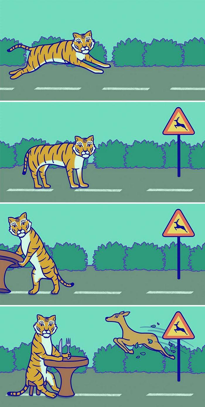 32 quadrinhos estranhamente engraçados que mostram o que aconteceria se o karma fosse real 26