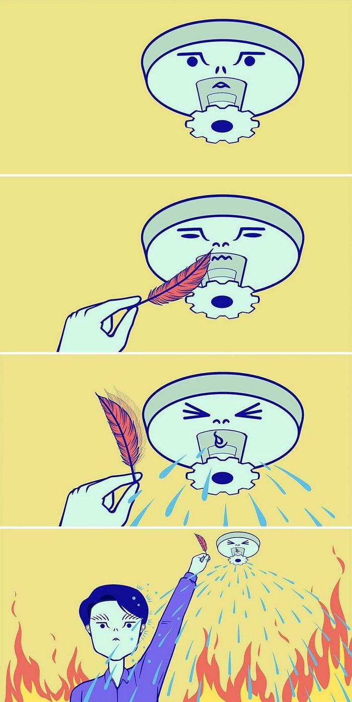 32 quadrinhos estranhamente engraçados que mostram o que aconteceria se o karma fosse real 30