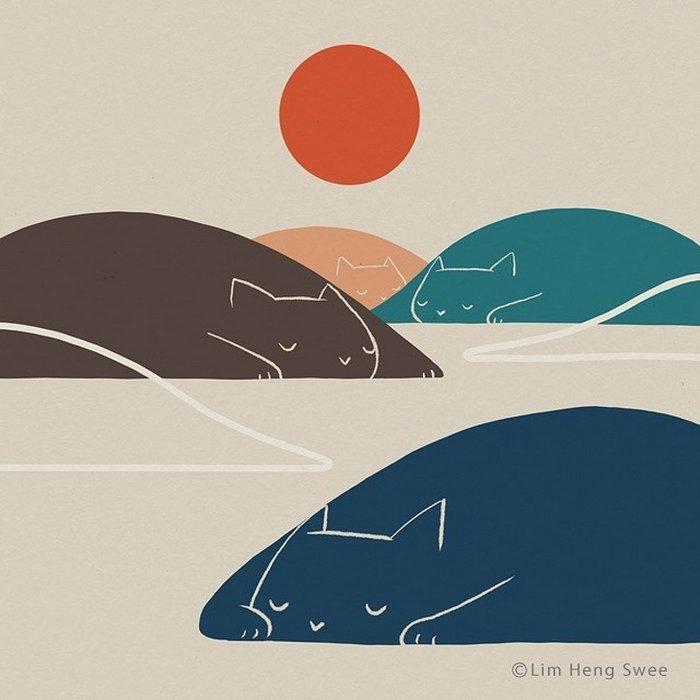 Artista esconde gatos em suas pinturas, criando um novo tipo de arte que chamamos de paisagens de gatos (25 fotos) 17