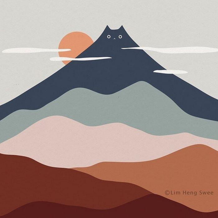 Artista esconde gatos em suas pinturas, criando um novo tipo de arte que chamamos de paisagens de gatos (25 fotos) 19