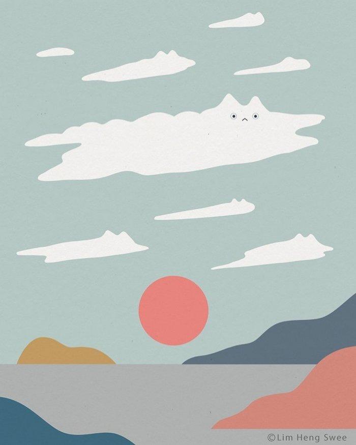 Artista esconde gatos em suas pinturas, criando um novo tipo de arte que chamamos de paisagens de gatos (25 fotos) 21