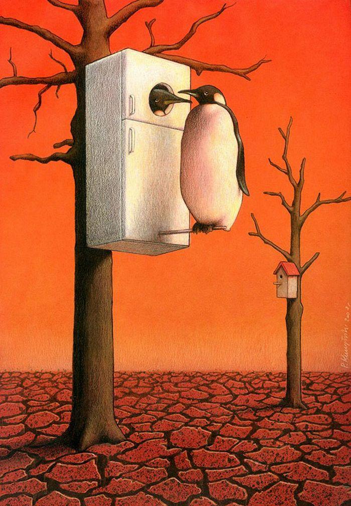Artista polonês cria 35 metáforas surpreendentemente precisas sobre nossa sociedade moderna 29