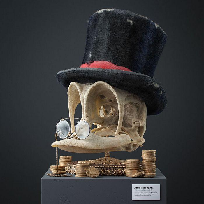Ilustrador cria fósseis de crânio anatômico de personagens de desenhos animados icônicos 4