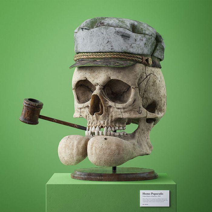 Ilustrador cria fósseis de crânio anatômico de personagens de desenhos animados icônicos 8
