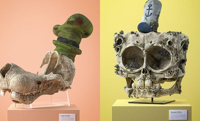 Ilustrador cria fósseis de crânio anatômico de personagens de desenhos animados icônicos 2