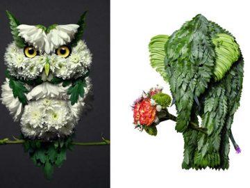 37 retratos delicados de animais criados a partir de coisas encontradas na natureza por Raku Inoue 7